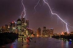 Lightning strike over Brisbane, Australia..