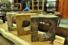 "Square Teak Sculpture/Bookends Sm 10"", $85 Lg 15"", $100"