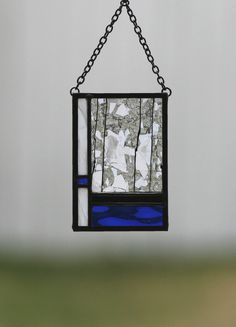 WINTER at the LAKE-Abstract Stained Glass Suncatcher,  Sun Catcher, Stain Glass, Water, Cobalt Blue, White, Black, Gift Boxed, Ready to Ship by gallerydelsol on Etsy https://www.etsy.com/listing/220685298/winter-at-the-lake-abstract-stained