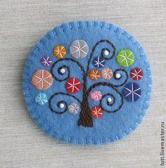 """Брошь """"Чудо-дерево"""" - брошь с вышивкой,деревья,волшебные деревья,чудо"""