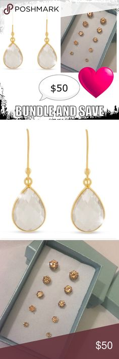 Bundle for $50 You'll receive a Stud Set with 5 varying sizes, total carat weights:  1/3ct, 1/2ct, 1ct, 1 3/4ct, 2 1/4ct.  Genuine cubic zirconia in gold tone. 🔹2 pear shape clear Quartz gemstone.  12 CT clear Quartz teardrop earrings/18 KT gold.  🚫trades.  Listed separately in my closet Jewelry Necklaces