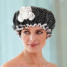hey everyone can use a shower cap from time to time, why not a funky-funny one? Hair Foils, Head Coverings, Indoor Outdoor Furniture, Shower Cap, Black N White, Home Furnishings, Blonde Hair, Objects, Hats