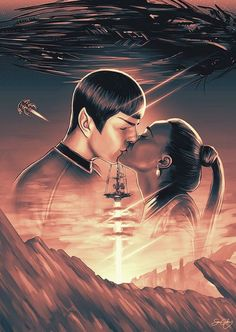 "Star Trek - The End of Vulcan - Sam Gilbey ---- Gallery West -- ""The Official Bad Robot Art Experience"" Star Trek 2009, Film Star Trek, Star Trek Show, Star Trek Reboot, Zachary Quinto, Fanart, Starship Enterprise, Star Trek Universe, Robot Art"