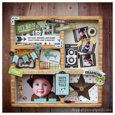 ADORABLE boyish shadowbox. Would love to make something like this for Zach's room.
