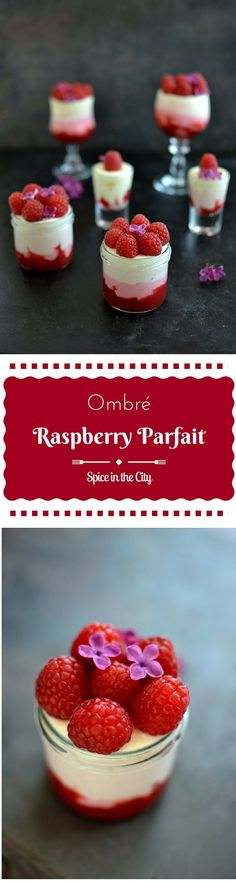 Enjoy the refreshing summery flavor of Raspberries in this lovely Ombre Raspberry Parfait with pretty pink layers, topped with lilacs! Best Gluten Free Recipes, Best Dessert Recipes, Sweets Recipes, Brownie Recipes, Top Recipes, Drink Recipes, Eggless Desserts, Chocolate Desserts, Easy Desserts