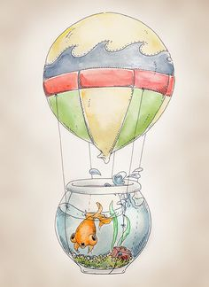Hot Air Balloon Fish print 8x10 by FlightsByNumber on Etsy, $20.00
