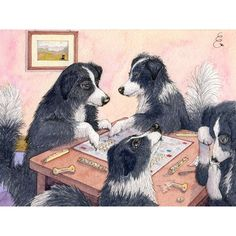 Single greatest illustration ever... Border Collies playing Scrabble!