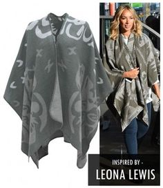 LEONA LEWIS PONCHO WENDE CAPE GRAU WOLLE STRICK WINTER MANTEL CARDIGAN PULLOVER