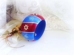 Handpainted wooden bangle blue and red vinous wood by GattyGatty, $22.00