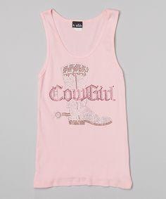 Pink Rhinestone 'Cowgirl' Tank - Toddler & Girls