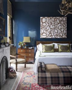 Glossy walls in Hague Blue Bench covered in a Ralph Lauren Home plaid strike a masculine note in the son's room. Curtain fabrics, Kravet and Ralph Lauren Home. Blue Rooms, Blue Bedroom, Blue Walls, Bedroom Decor, Indigo Bedroom, Master Bedroom, Bedroom Eyes, Leontine Linens, Hague Blue