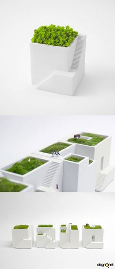 Green-Roofed Cityscape for Your Desk