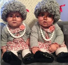 Old lady baby costume ideas. A tutorial. How to make a DIY old lady wig and dress baby up as a 100 year old grey haired grandma for Halloween. The cutest costume ever!