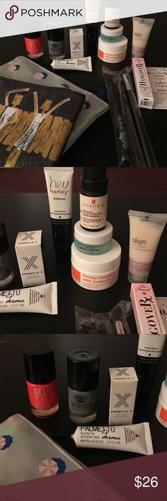 Beauty Bundle - Perfect Beauty Gift! 2 make up bags // Aurora nail lacquer// Adesse nail lacquer// Formula X nail color // Palmetto Antioxidant Mask // 2 make up brushes // Hey honey moisturizer// Too faced hangover face primer // honey moisture mask // aqua moist mask // Theorie hair serum // skyn cooling daily lotion Makeup