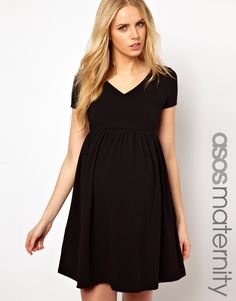 Asos black wrap maternity dress