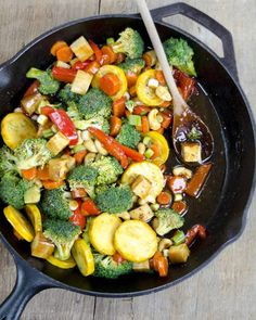 Vegetable Teriyaki Stir-Fry is better than takeout! Fresh vegetables in a flavorful teriyaki sauce: healthy & delicious! Vegetable Recipes, Vegetarian Recipes, Healthy Recipes, Vegetable Stir Fry, Healthy Foods, Sauteed Vegetables, Veggies, How To Saute Vegetables, Recipes