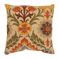 @Overstock - If your room needs a colorful finishing touch, this energetic throw pillow will do the trick. With a case made of 100-percent cotton and the fill made of recycled polyester, the green, blue, orange, and yellow floral pattern will create a winning look.http://www.overstock.com/Home-Garden/Santa-Maria-16.5-inch-Adobe-Throw-Pillow/7213435/product.html?CID=214117 $28.99