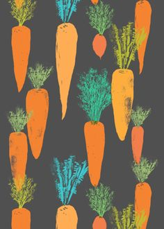 carrot pattern, fabric design by canigrin easter ideas
