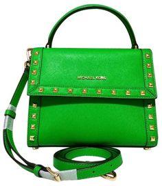 80f7d5018a8783 Michael Kors Dillon Medium Stud Messenger Crossbody Green Saffiano Leather  Satchel 53% off retail