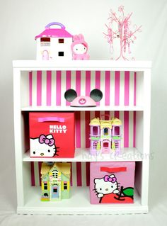 Girl's bedroom! Not hello kitty though - *add stripes to back of bookshelves