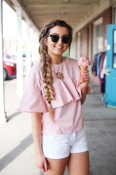 """The cutest ruffle top you will ever find is only $35! I love this pink full shirt, I can't stop wearing it! I paired it with my white j.crew chino shorts and my 2.5"""" monogram necklace. I am also wearing my favorite ray ban club master sunglasses. By Lauren Lindmark on dailydoseofcharm.com daily dose of charm"""
