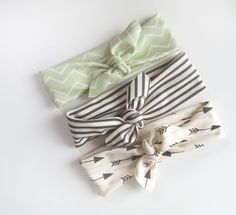 Little Hip Squeaks Headbands, The Dani Collection, Set Of 3, Black and White Stripes plus Seafoam Arrows, Toddler or Baby Headbands. $29.80, via Etsy.