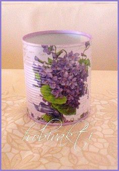 ♥♥ Hobby Time ♥♥: Eveeeet, Tomato Tomato Box Again :]]. Decoupage Vintage, Decoupage Tins, Tin Can Crafts, Crafts To Make, Diy Crafts, Tin Can Art, Tin Art, Tin Can Shabby Chic, Painted Tin Cans