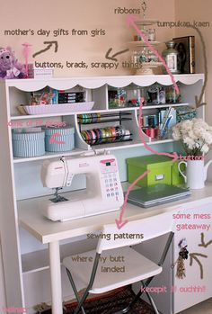 Nice little sewing wall.  Please share your sewing room ideas with me. Converting tiny office with french doors into sewing room.
