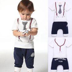 New Kids Baby Boy Cotton Clothes Tie Belt Print T Shirt+Short Pants 1-5Y White