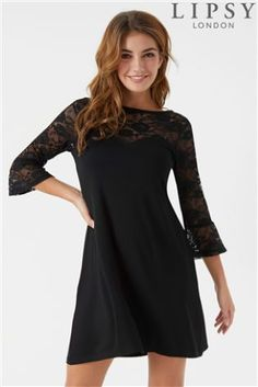a4d139bd04 Buy Lipsy Lace Sweetheart Long Sleeves Mini Skater Dress from the Next UK  online shop