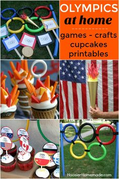 OLYMPICS AT HOME IDEAS -- Celebrate the Olympics with these FUN Games, Crafts, Cupcakes, Printables and more!!