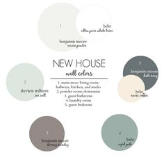 New House Color Scheme. Benjamin Moore Revere Pewter. Behr Ultra Pure White. Sherwin Williams Sea Salt. Benjamin Moore Stormy Monday. Benjamin Moore Hale Navy. Behr Swiss Coffee. Behr Aged Jade. #NewHouse #ColorScheme #PaintColors new-house-color-scheme