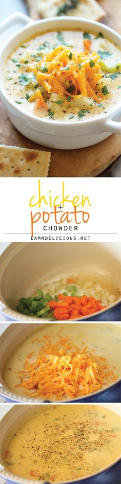 Chicken and Potato Chowder - Just like mom's comforting chicken noodle soup, but it's even creamier and loaded with cheesy goodness! Chicken Soup Recipes, Chicken Noodle Soup, Chowder, Noodles, Curry, Potatoes, Ethnic Recipes, Food, Pasta Noodles
