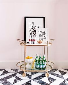 Pink Office with Oval Gold Bar Cart