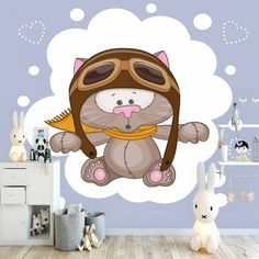 Else Pilot Cute Gray Cat White Hearts Dot Animal Print Cartoon Cleanable Fabric Mural Kids Children Room Background Wallpaper Wallpaper Paste, Custom Wallpaper, Photo Wallpaper, Children Wallpaper, Grey Cats, Wall Stickers, Wall Murals, 3d Printing, Kids Room