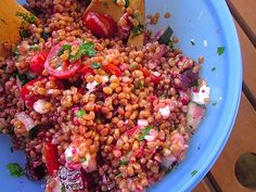 Wheat Berry Salad with Beets and Goat Cheese.  I love beets but Ron will have to pick around them.  :)