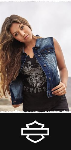 Hugs the body like nobody's business. One hundred percent practical and one hundred percent beautiful. | Harley-Davidson #HDBlackLabel Women's Fitted Denim Vest