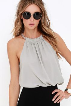 Link in the Chain Grey Top at Lulus.com!