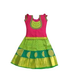 Handmade Lehenga Choli Kids Parrot Green and Pink Pure Silk Pavadai for Indian Baby Girls/Kids Ethnic Wear Traditional Dress - 2 Months Baby Girl Frocks, Frocks For Girls, Dresses Kids Girl, Kids Outfits, Baby Outfits, Baby Lehenga, Kids Lehenga, Lehenga Choli, Kids Dress Wear