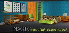 Magic - Two Awesims set combined into one. Broyhill Nursery Crib (2 subsets) - general<child Baby Changing Bits - general<child Nursery Print (+2 recolors) - deco<wall Sideboard - surfaces<misc R160 Armchair (2 subsets) - seating<livingchairs MidCentury Bedroom Platform Bed - seating<bed Headboard - seating<bed Endtable - left + right - surfaces<endtables Ball Lamp (2 subsets) - lighting<tablelamps Double Blanket - seating<misc JetSet Bench (2 subsets) - ...