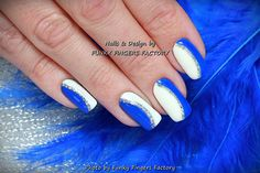 Gelish Blue White Silver nails by FUNKY FINGERS FACTORY