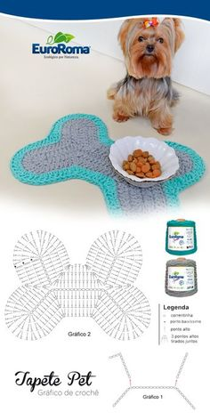 Dog Bone Paw Print Place Mat, Large Pet Crate Bone Mat, Name Personalized Dog Bone Shaped Mat, Dog Food Bowl Placemat Rug, Pet Supplies - Her Crochet Crochet Diagram, Crochet Patterns, Crochet Dog Sweater Free Pattern, Crochet Appliques, Crochet Home, Knit Crochet, Crochet Motif, Crochet Dog Clothes, Braided Rugs