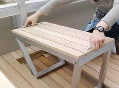 Interesting Idea.  Could be extended to make a two-tier patio table, made entirely from hardwood...