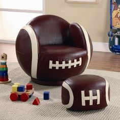 Coaster Small Kids Football Chair And Ottoman 460179 - Kids Sports Chairs Small Kids Football Chair And Ottoman 460179 by CoasterIf your child has a love for sports, then this chair and ottoman will make a perfect addition to their bedroom or playroom! Imitating the look of a football, this small kids football chair will create a fun, exciting, and unique look that friends will admire. Pair with the football ottoman for a complete athletic appeal. Baseball, soccer ball, and baseball chairs…