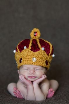 Crocheted Crown Hat. This is way too cute.