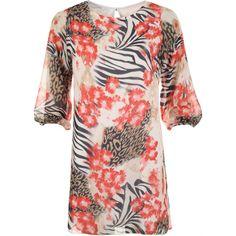 Sherri Chiffon Lined Print 3/4 Sleeve Top