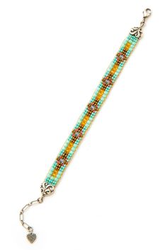 Golden Turquoise Cross Bracelet - Bracelets - Jewelry   Peyote Bird Designs