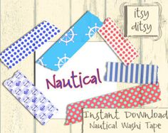 Nautical scrapbook washi tape digital Nautical pattern tape Scrapbooking digital design projects Nautical stripes anchors,polka dots & helm