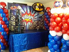 Superhero Party Decorations, Balloon Decorations, Event Planning, Wedding Planning, Inflatable Rentals, Superhero Spiderman, Cupcake Shops, Pony Party, Bakery Cakes