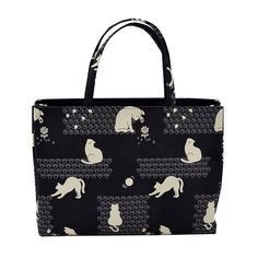 Women's Cat Silhouette Tote Bag, Wide Type 01 Footprints x Black: Handbags: Amazon.com